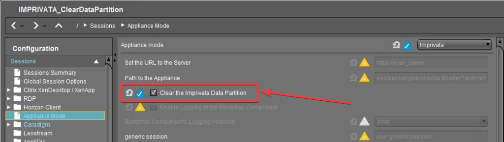 UMS Imprivata clear data partition